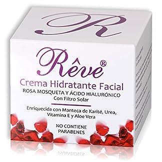 REVE Crema Hidratante Facial con Rosa Mosqueta – Vitamina E – Ácido Hialurónico – FPS15 – Regeneradora Celular – Hombre y Mujer, Día y Noche – Cosmética de Calidad sin parabenes – 50 ml