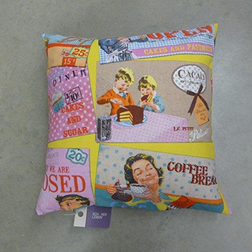 Unbekannt Belle Vie Coussin Taie d'oreiller pour Coussin rétro 50s Diner 50 x 50 cm