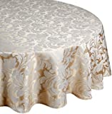 Signature Collection Cadiz Damask Effect Champagne (Creamy-Gold) 69in (175cm) Round - Diameter (Circular) Tablecloth. Ideal For 4-6 Place Settings. All Sizes Approximate