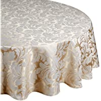 Premier Signature Collection Cadiz Damask Effect Champagne (Creamy-Gold) 69in (175cm) Round - Diameter (Circular) Tablecloth. Ideal For 4-6 Place Settings. All Sizes Approximate