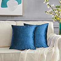 """GIGIZAZA Gold Velvet Decorative Throw Pillow Covers for Sofa Bed 2 Pack Soft Cushion Cover 20 x 20""""- set of 2 Blue"""