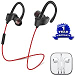 BLUETOOTH HEADSET WITH MICROPHONE - Bluetooth 4.1 technology Ensures perfect stereo sound quality with High Bass. Comes with balanced left and right stereo channels.Super Signal supports operation with in 5ft. Built-in HD Microphone with CVC6.0 noise...