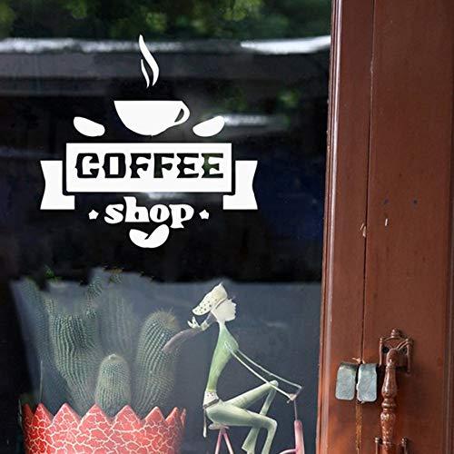 mmzki Coffee Shop Logo Wandaufkleber Coffee Store Sign Restaurant Küche Fensterdekoration Kaffeetasse Wandaufkleber Dekor 57x57 c