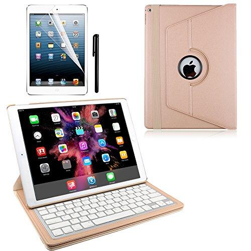 KVAGO iPad Pro 12.9 Bluetooth Tastatur(deutsche QWERTZ)Schutzhülle Keyboard Case mit einstellbarem Blickwinkel Funktion (360°Drehstandfunktion) – Gold