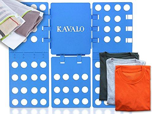 KAVALO Profi Faltbrett für Kleidung + Wäschenetz von im Set - Der robuste Wäschefalter ist eine enorme Falthilfe zum Wäsche zusammenlegen Blau (56 cm x 66 cm) Faltbrett für t-shirt