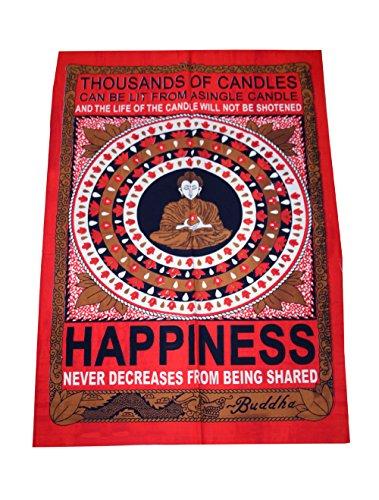 Buda felicidad paz tapiz colgante de pared Hippie tamaño póster bandera