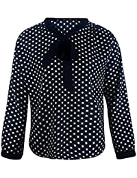 Anglewolf Fashion Womens Polka Dot Printing Long Sleeve Chiffon Bowknot Shirt New Look Ladies Softstyle Loose V-Neck Blouse Tops Work Shirt Casual Shirt Pencil Short Blouse Plus Size, S~XXXL