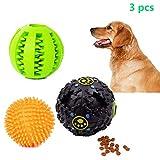 Set di palline giocattolo per cani, palla antiproiettile con rumore, palla dentale, palline di gomma masticabili, ossequi per animali domestici, giocattoli adatti a cuccioli e cani di taglia media, aumentano il QI e migliorano il comportamento di apprendimento (3 pezzi)