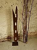 Eiche Massivholz Kerzenständer, Teelichthalter Treibholz-Applikation, Deko-Säule Eisenfuß 150 cm, Windlicht, Handmade in Germany