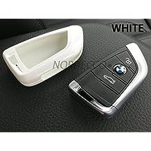 Alto brillo duro Carcasa de plástico ABS para Smart 3botones sin llave Key Fob protector caso BMW 2serie X1X5F15F22F45F46(color blanco)