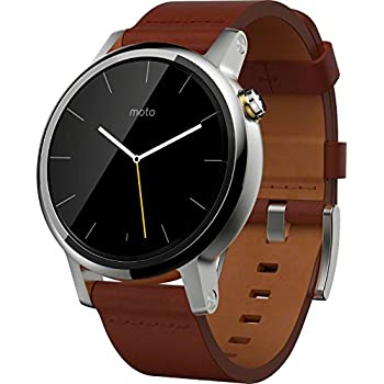 Motorola Moto 360 (2nd Gen) 42mm Natural Metal Dial with silver case and Cognac Leather Band Smart Watch