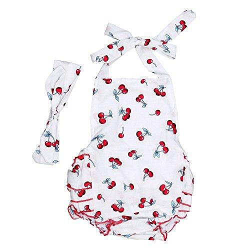 TININNA Abbigliamento per Neonati, Carino Bambini Vestito Tute Abiti, con mollette per capelli ,con fiocco per capelli-bianco S