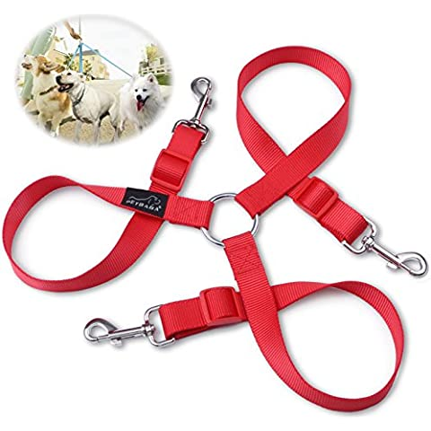 3 Dog Lead Coupler, PETBABA 30-50cm/1-1.6FT Long Adjustable Nylon Training Lead for 3 Dogs Red M