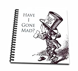 3dRose db_110410_2 Mad Hatter Have I Gone Mad Alice in Wonderland-Memory Book, 12 by 12-Inch