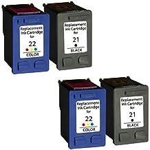 Prestige Cartridge HP 21XL / HP 22XL Pack de 4 cartuchos de tinta para HP DeskJet Serie, color y negro