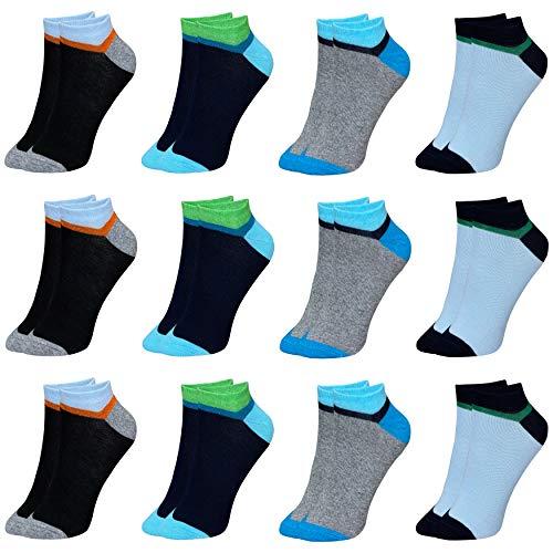 12 Paar Kinder Jungen Mädchen UNI Baumwolle Socken Kindersocken Sneaker (33-36, Modell 2)