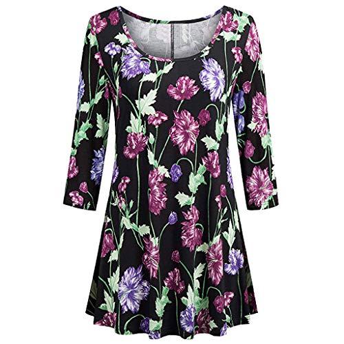 VEMOW Sommer Herbst Elegant Damen Oberteil Langarm O Neck Printed Flared Floral Beiläufig Täglich Geschäft Trainieren Tops Tunika T-Shirt Bluse Pulli(Y3-Violett, EU-44/CN-XL)