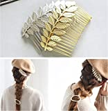 Aukmla Wedding Hair Combs Set Alloy Leaves Bridal Hair Accessories for Women and Girls Golden and Silver Color