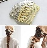 Aukmla matrimonio lega foglie pettini per capelli, accessori per capelli da sposa per donne e ragazze (colore argento) immagine