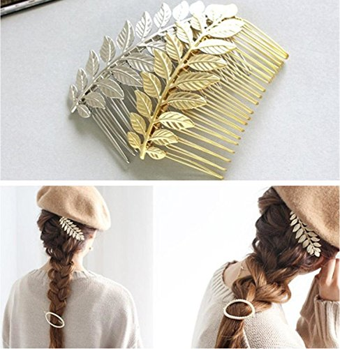 Aukmla, peineta de hojas de aleación, peines de boda para novia, accesorios para el cabello, para mujeres y niñas, color dorado y plateado