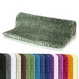 Spirella Badteppich Badematte Duschvorleger Mikrofaser Hochflor | flauschig | rutschhemmend | geeignet für Fußbodenheizung | 55x65 cm | Grün