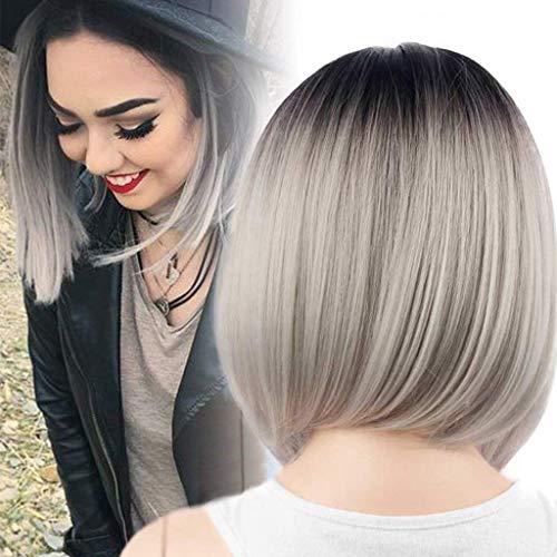 ATAYOU® Kurze Gerade Grau Ombre Bob Perücken für Frauen Täglichen Gebrauch und Kostüm (Schwarze Wurzeln zu Grau - Graue Haare Kostüm Perücke