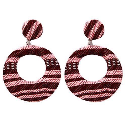 Homeofying Böhmischen Frauen aushöhlen geometrischen bunten gewebten Stoff baumeln Ohrstecker Ohrringe für Frauen 2#
