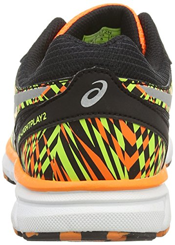 Asics Gel-lightplay 2 Gs, Unisex-Kinder Laufschuhe Schwarz (black/silver/flash Orange 9093)