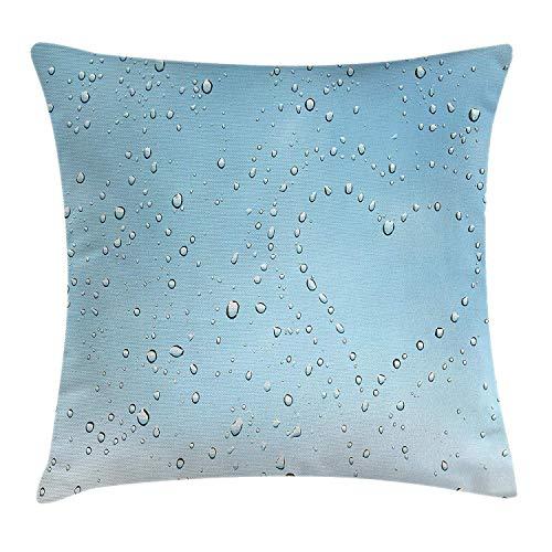 Dutars farmhouse decor federa per cuscino a forma di cuore, gocce di pioggia su vetro cristallo trasparente finestra pure love san valentino, decorative square accent pillow case, 45,7x 45,7cm, blu