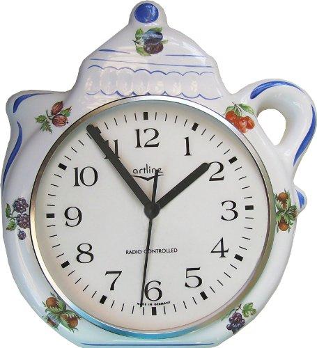 Keramik Küchenuhr Artline Funkuhr Kaffeekannen Uhr Beerendekor Blauzierung handbemalt
