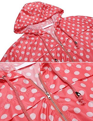 cooshional Damen Regenjacke Wasserdicht Regenmantel Atmungsaktiv Windbreaker Leicht mit Kapuze Tasche Rot(Weiß Punkt)