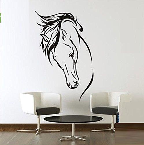 Grande Animal cabeza de caballo pared vinilo adhesivo la sala de estar fondo pegatinas vinilo extraíble negro Color
