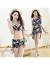 ZHANGYONG*Split-jupes maillot 3 pièce de petites particules de poitrine beach resort female video sexy mince ,XL, blanc
