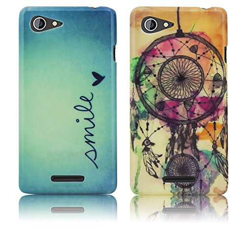 Sony Xperia E3 Silikon-Hülle 2x SET Smile + Traumfänger weiche Tasche Cover Case Bumper Etui Flip smartphone handy backcover thematys®