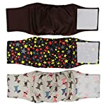 Metrical Washable Dog Diapers (Pack of 3) Reusable Male Dog Belly Bands Durable Dog Belly Wrap (M(Waist:13''-17''))