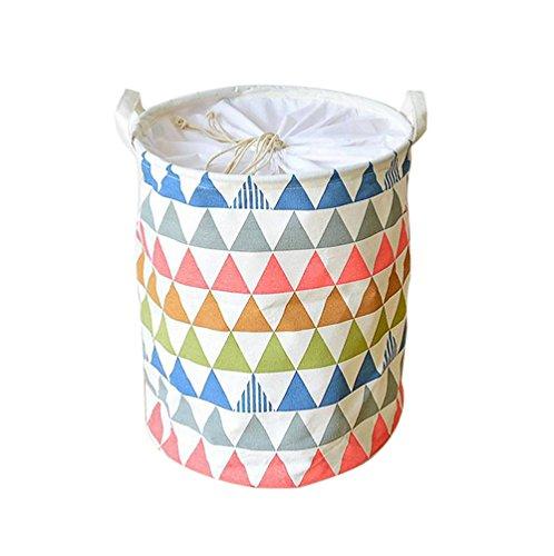Natürliche Canvas Kordelzug (EchoFun Canvas Print Anker Wäschekorb Korb zylindrische Kordelzug Müllbeutel Spielzeug ordentlich Lagerung mit Griffe 35 x 45cm)