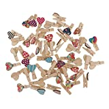 MagiDeal 50pcs Mini bunte hölzerne Klemmen Clip Holzklammern Wäscheklammern Clips Fotopapier Peg - Farbe1