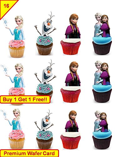 sa Anna Geburtstag Cup Cake Essbar Topper Reispapier Stand Up (Disney Cake Topper)