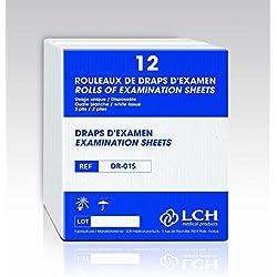 LCH - Draps d'Examen - Résistants - Absorption Optimale - Pré-Découpés tous les 38 cm - Largeur 50 cm - Livraison par Rouleaux de 12