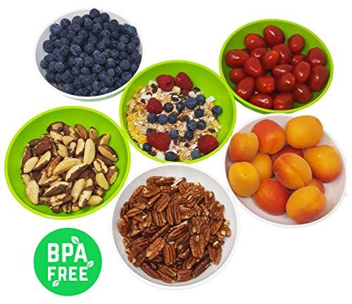 greenline 6 Flache Schalen Natürlicher Bio-Kunststoff aus Zuckerrohr 0,45 l Inhalt ideal als Müsli-Schale, Dessert-Schale, Snack-Schale Stapelbar BPA-frei Spülmaschinefest Mikrowellengeeignet (Kleine Kunststoff-müsli-schalen)