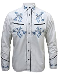 Chemise à fleurs - style western/rockabilly - homme - blanc