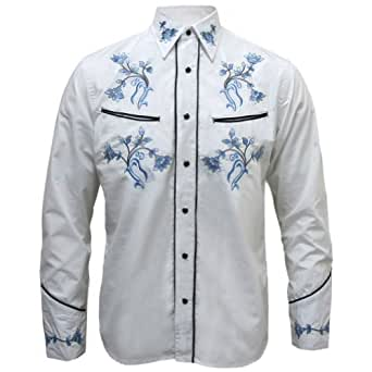 redstar rodeo chemise fleurs style western rockabilly homme blanc v tements. Black Bedroom Furniture Sets. Home Design Ideas