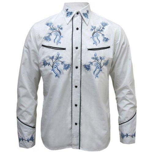 Herren Cowboy-Hemd - Rockabilly/Western/Line Dance - Wei� Blumen - M (Retro Western-hemden Männer Für)