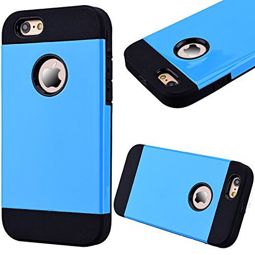 Coque iPhone 6S, Etui iPhone 6 4.7 Pouces, GrandEver Housse de Protection Triple Couche Heavy Duty Antichoc Étui Hard PC Noir Silicone Souple Protecteur Case Plastique de Silicone Hybrid Case for Appl Bleu