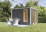 Unbekannt Karibu Gartenhaus Cubus Front 1 terragrau 28 mm