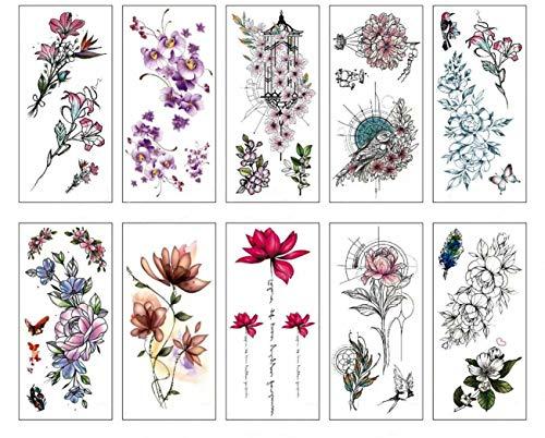 Pamo flower fake tatuaggi temporanei adesivi fiori di ciliegio rose lotus flash tattoo confezione da 10 pezzi
