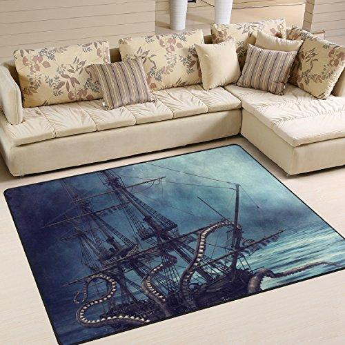 zzkko Ocean Bereich Teppich Teppich, Nacht Szene mit Ein Piratenschiff und Oktopus Tentakel Boden Teppich Matte für Schlafzimmer Living Wohnheim Zimmer Küche, multi, 4'x5'(120x160 cm)