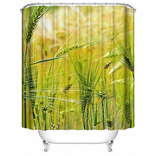 HUIYIYANG Benutzerdefinierte Duschvorhang, 3D Design Green Wheat Cosy natürliches Leben Gelb Grün Wasserdichter Anti Mehltau Gewebe Polyester Duschvorhang für Badezimmer 48