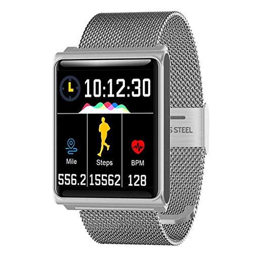 Lg-jz Smart Watch Sports Podómetro Reloj Impermeable Bluetooth Cámara Sleep Monitor de Red con Pulsera Inteligente Pulsera Inteligente (Tamaño : La Plata)