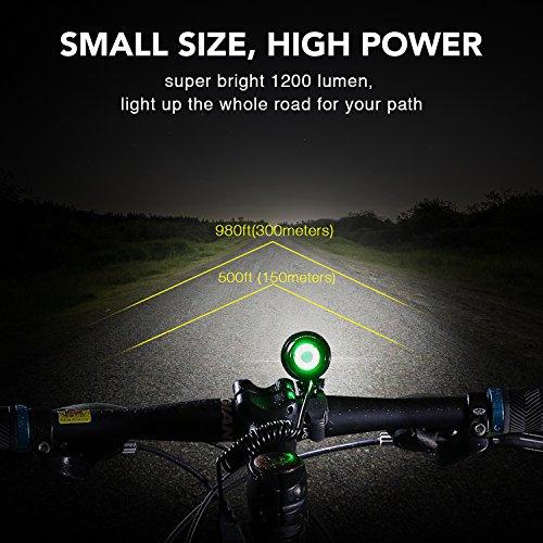 LED Fahrradlicht, USB Wiederaufladbar Taschenlampe Frontlicht Set Super Helle 1200 LM Wasserdichte LED Fahrradbeleuchtung mit Akku-Pack und Rücklicht - 4